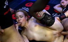 Rebecca black is full of hard big cock in threesome
