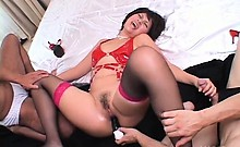 Yoko Aoyama in latex cunt toy fucked hard in hardcore video