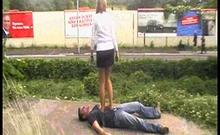 Femdom Brats trample guys outdoor