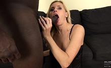 Horny milf begs black guy to fuck her for money on camera
