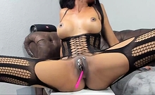 Ebony Slut In Stockings Rubs Her Pussy