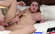 Puffy college pussy Kenzie riding for facial first time