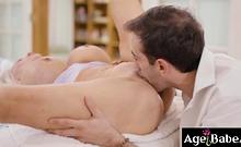 Sally D Angelo giving Jake Adams a hot tit job