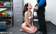 Teen thief has to choose between jail and a big cock