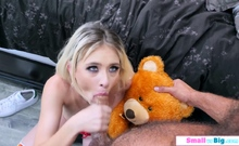 Guy ass licks then fucks his new petite blonde girlfriend