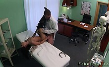 Brunette mouth and pussy fucked by doctor