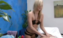 Hot blond Kiara fucks and sucks her massage client on the
