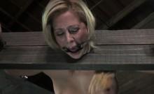 Bounded female slave gets fingered fast by her master