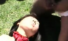 Cute Asian Girl In An Outdoor Gangbang