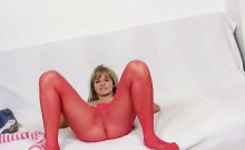 Thin blonde bunny red see through tights on legs